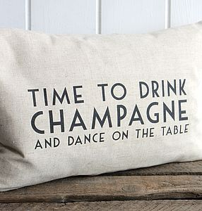 Fun Champagne Cushion - patterned cushions