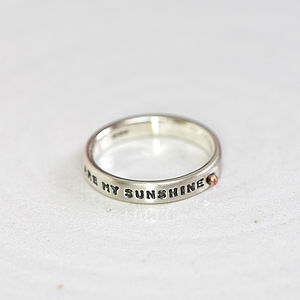 'You Are My Sunshine' Silver Ring