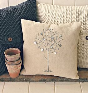 Family Tree Embroidered Cushion - living room