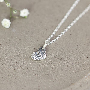 Wood Grain Silver Heart Necklace - necklaces & pendants