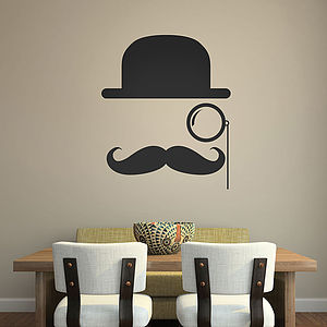 Bowler Hat Moustache Wall Stickers - decorative accessories