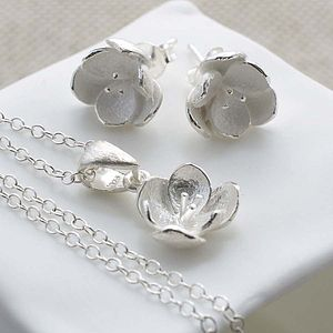 Sterling Silver Blossom Necklace And Stud Earrings Set