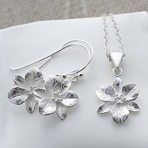 Silver Flower Necklace And Earrings Set - jewellery sets