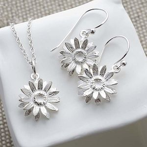 Silver Daisy Necklace And Earrings Set - necklaces & pendants