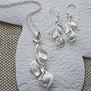 Sterling Silver Leaves Necklace And Earrings Set