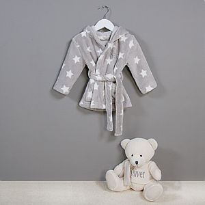 Personalised Star Baby Robe And Bear Set - lounge & activewear
