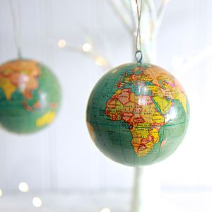 Blue Vintage Atlas Hanging Decoration - tree decorations