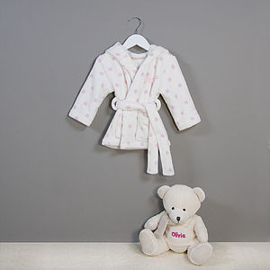 Personalised Polkadot Baby Robe And Bear Set - baby care