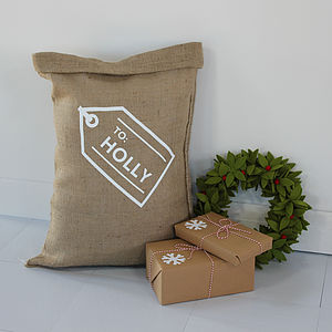 Personalised Christmas Gift Tag Sack - stockings & sacks