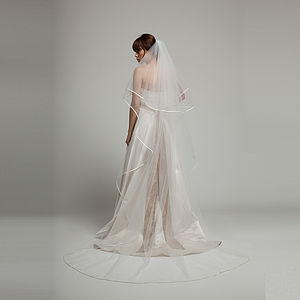 Alicia Satin Edged Long Bridal Veil