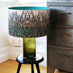 Green Leaves Designer Drum Lampshade - lamp bases & shades