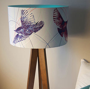 Flying Blue Birds Designer Drum Lampshade - lamp bases & shades