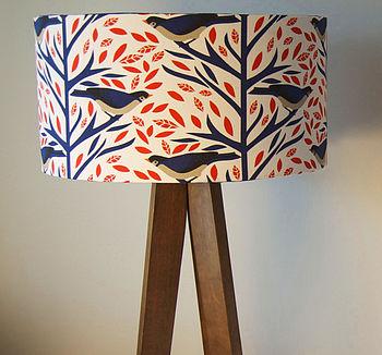 Coral And Blue Birds Designer Drum Lampshade