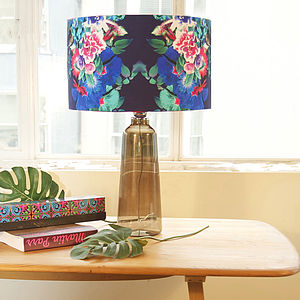 Blue And Hot Pink Floral Designer Lampshade - fresh floral homeware