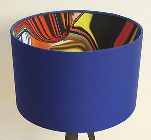 Blue Retro 60's Pop Designer Drum Lampshade - lamp bases & shades