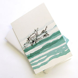 Sketchbook With Boats On The River Print