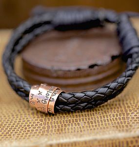 Copper Black Scroll Tie Mens Bracelet