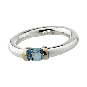 Aquamarine Tension Set Ring - women's jewellery