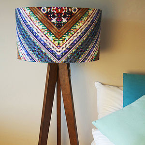 Blue Striped Retro Drum Lampshade - lamp bases & shades