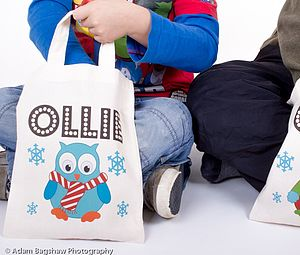Personalised Mini Christmas Owl Tote Bag - stockings & sacks