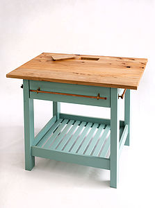 Handmade Kitchen Island With Painted Base - furniture