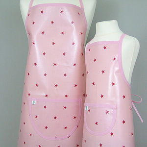Pink Stars Oilcloth Apron - aprons