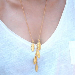Long Gold Feather Necklace