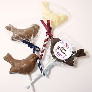 Three Fairy Tale Snow White Chocolate Lollipop Birds - luxury chocolates