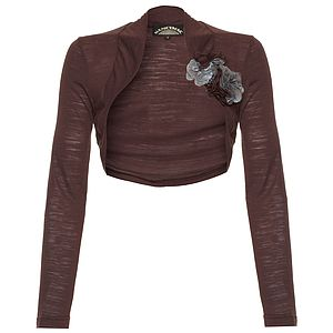 Shrug In Chocolate Fine Knit - more
