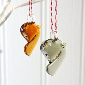Glass Fox Hanging Decoration - decorative accessories