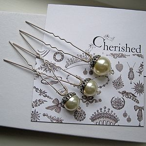 Petworth Pearl Acorn Hairpins - hats, hairpieces & hair clips