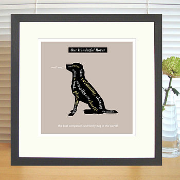 charcoal brown labrador retriever print with mount & black frame