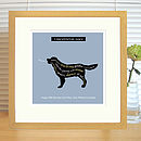 slate blue golden retriever print with mount & oak frame