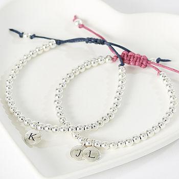 Silver Initial Friendship Bracelet