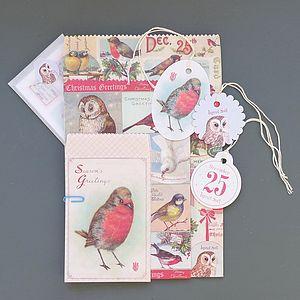Christmas Birds Petite Parcel Set - cards & wrap