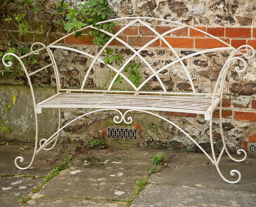 Riviera Wrought Iron Bench By Chairworks