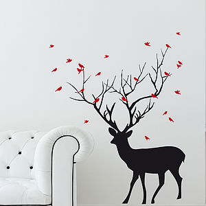 Christmas Deer With Birds Wall Sticker - bedroom