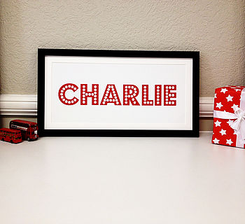 Presonalised Circus Marquee Name Letter Print - Red