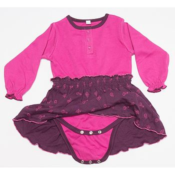 Organic Pink And Purple Long Sleeve Onesie Dress