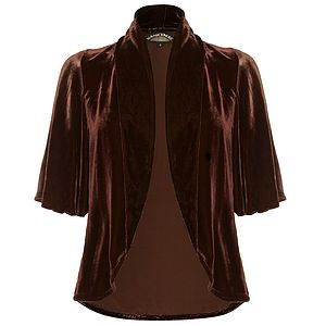 Chocolate Silk Velvet Tea Jacket - women's fashion