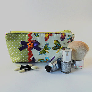Dragonfly And Polka Dot Fabric Makeup Bag - make-up & wash bags