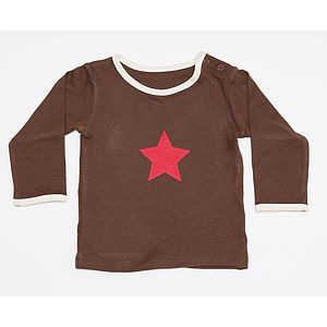 Organic Brown Long Sleeve Star Printed Top - clothing