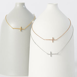 My Sideways Cross Necklace - wedding jewellery
