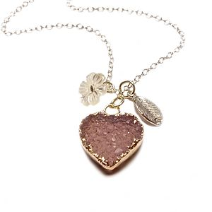 Druzy Sweet Heart Necklace - women's jewellery