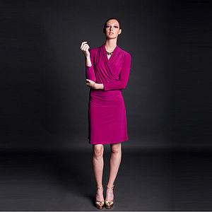 Jersey Side Drape Dress Three Colour