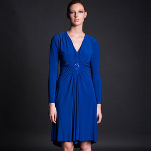 Diamond Jersey Dress - january blues, greens & greys