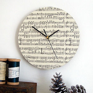 Handmade Circular Vintage Music Clock - home accessories