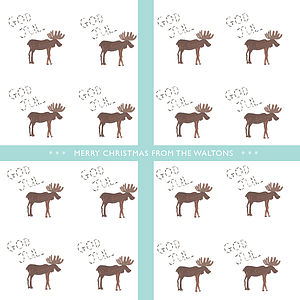 Personalised 'Moose' Christmas Cards - cards