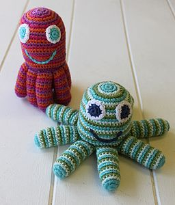 Handmade Knitted Octopus Rattle - soft toys & dolls