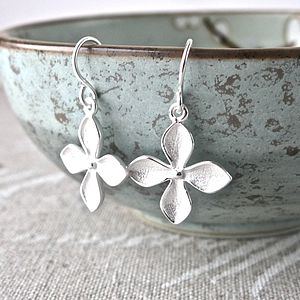 Silver Petal Blossom Drop Earrings - earrings